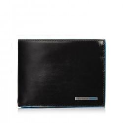 PIQUADRO BLUE SQUARE Portafogli uomo con porta carte doppio porta documenti e moneta in pelle NERO