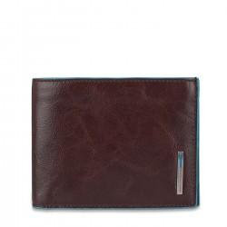 PIQUADRO BLUE SQUARE Portafogli uomo con doppio porta carte porta documenti in pelle MORO