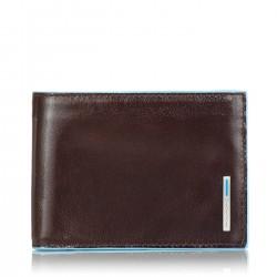 PIQUADRO BLUE SQUARE Portafogli uomo con porta carte porta documenti e moneta in pelle MORO