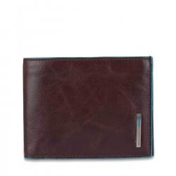 PIQUADRO BLUE SQUARE Portafogli uomo con doppio porta carte in pelle MORO
