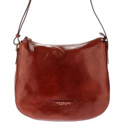 THE BRIDGE PLUME LUXE Borsa mezzaluna a spalla in pelle MARRONE