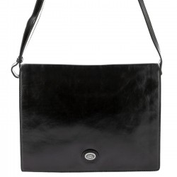 THE BRIDGE Messenger trasverale chiusura a patta in pelle NERO 05296001