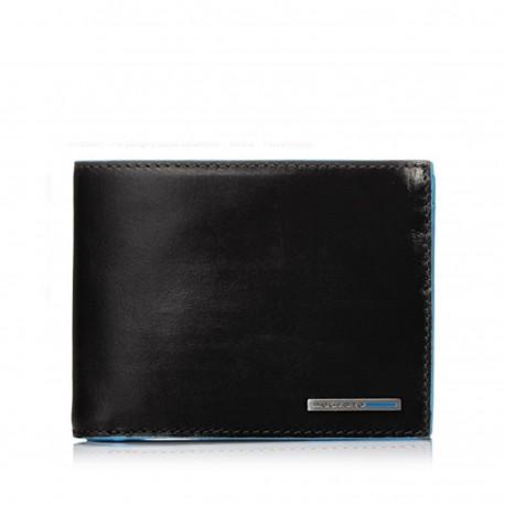 91317ad990 PIQUADRO BLUE SQUARE Portafogli uomo con porta carte doppio porta documenti  e moneta in pelle NERO
