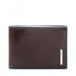 PIQUADRO BLUE SQUARE Portafogli uomo con porta carte e moneta in pelle MORO