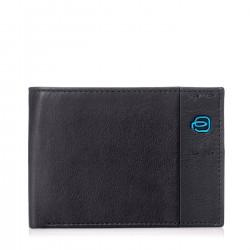 PIQUADRO P15 Portafogli uomo con porta carte porta documenti e monete in pelle NERO/GRIGIO