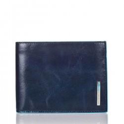 PIQUADRO BLUE SQUARE Portafogli uomo con doppio porta carte in pelle BLU