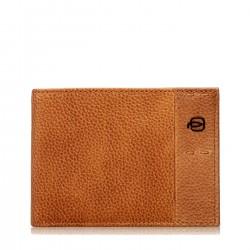 PIQUADRO P15S Portafogli uomo con porta carte documenti e moneta in pelle CUOIO