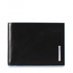 PIQUADRO BLUE SQUARE Portafogli uomo con doppio porta carte porta documenti in pelle NERO