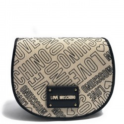 LOVE MOSCHINO Borsa a tracolla con patta in canvas NERO