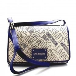 LOVE MOSCHINO Borsa a tracolla con patta in canvas con logo BLU