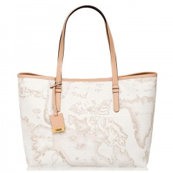 ALVIERO MARTINI PRIMA CLASSE Borsa shopping media a mano in stampa geo WHITE