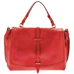 THE BRIDGE Borsa donna grande monomanico con patta e tracolla in pelle ROSSO