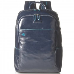 PIQUADRO BLUE SQUARE Zaino in pelle piccolo porta pc BLU