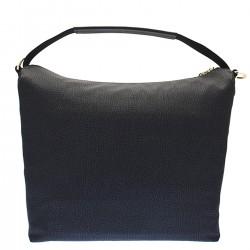 BORBONESE Borsa a sacca con tasca in tessuto classico e nylon NERO