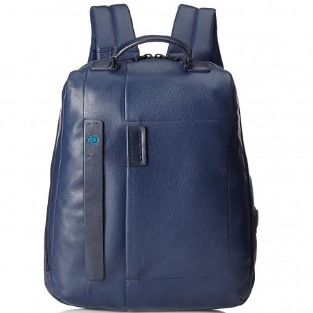 ee5ae46af0f9b2 PIQUADRO P15PLUS Zaino porta PC in pelle con tasca davantiBLU3