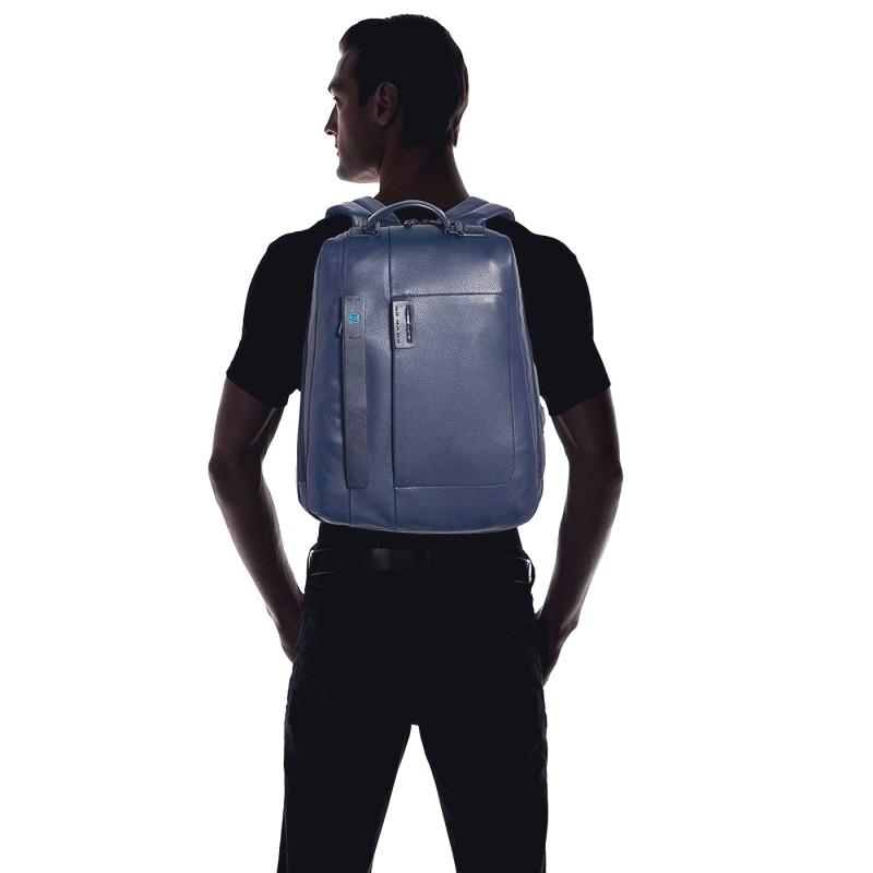 f40c2cec679ab4 ... PIQUADRO P15PLUS Zaino porta PC in pelle con tasca davantiBLU3 ...