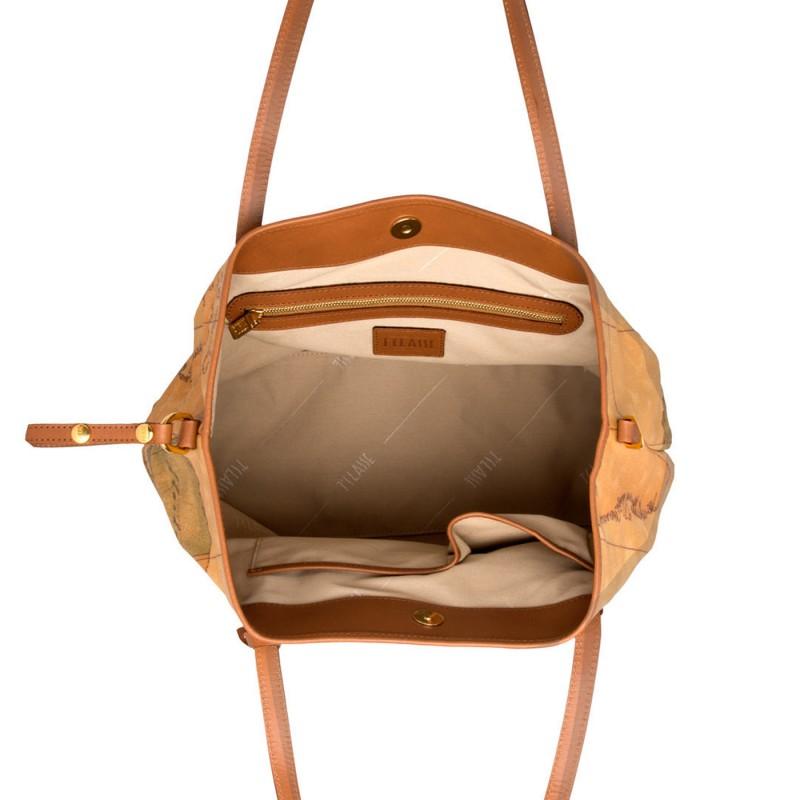 3369272bd6 ALVIERO MARTINI Borsa shopping a spalla a trapezio con bottone centrale in  geoclassic NATURAL