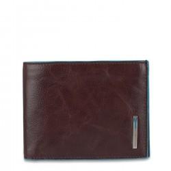 PIQUADRO BLUE SQUARE Portafogli uomo con porta carte porta documenti e moneta in pelle MOGANO