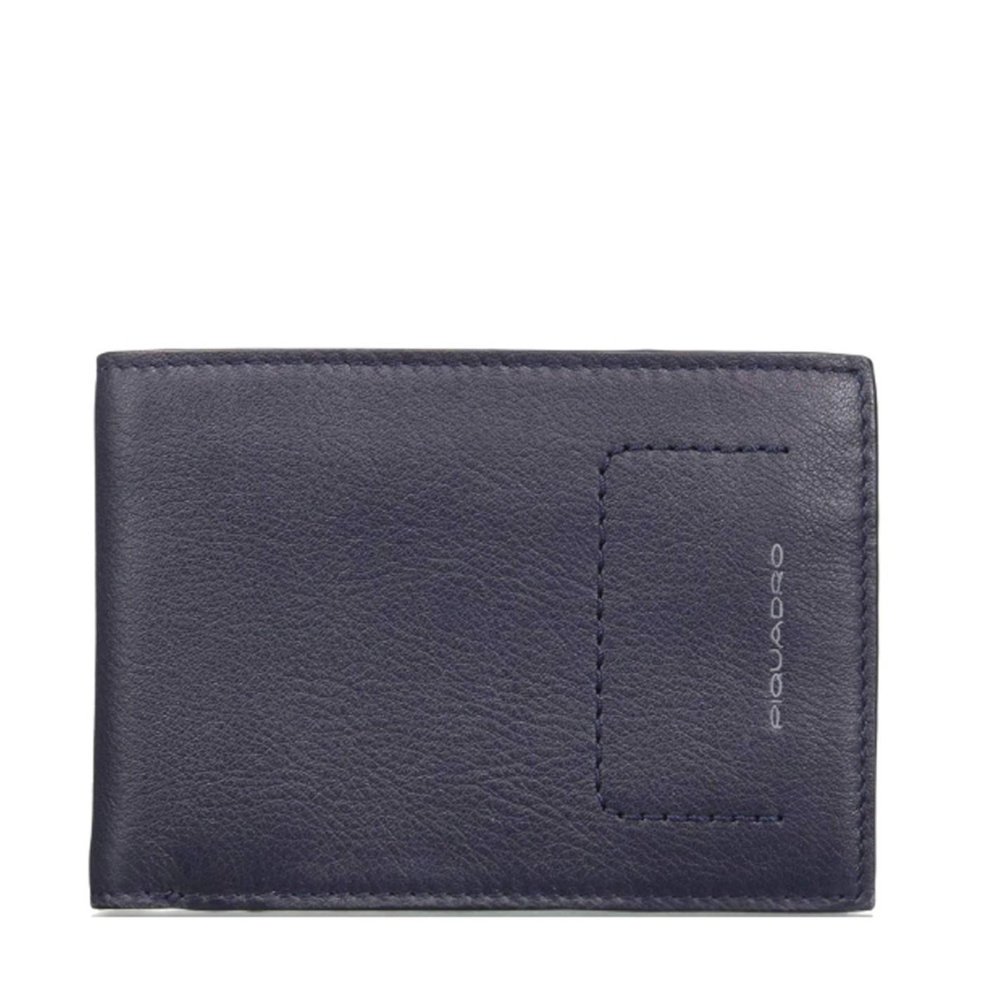 eb4e66873d PIQUADRO W86R Portafogli uomo con porta documenti carte e moneta in pelle  BLU