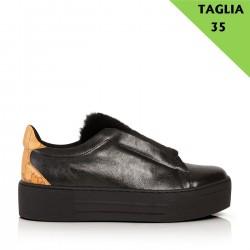 ALVIERO MARTINI Sneaker senza lacci con pelo NERO TG 35