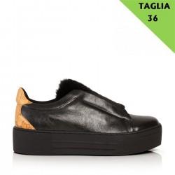 ALVIERO MARTINI Sneaker senza lacci con pelo NERO TG 36