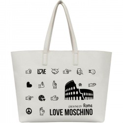 LOVE MOSCHINO Borsa shopping in ecopelle grande BIANCO P/E 2019