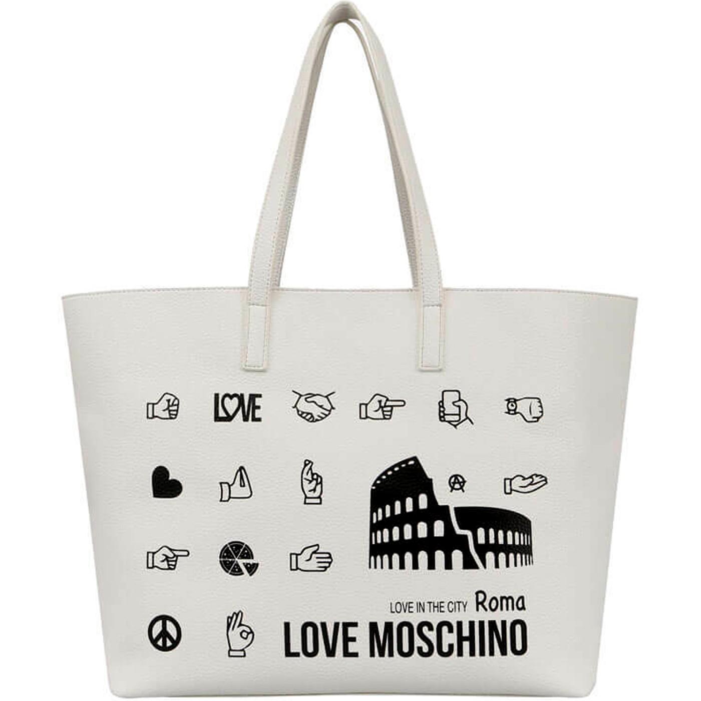 LOVE MOSCHINO Borsa shopping in ecopelle grande BIANCO PE 2019