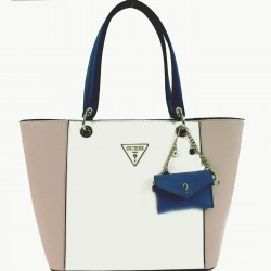 GUESS KAMRYN Borsa shopper grande in ecopelle WHITE MULTI P/E 2019