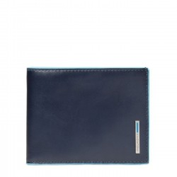 PIQUADRO BLUE SQUARE Portafogli uomo con porta carte e moneta in pelle BLU