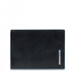 PIQUADRO BLUE SQUARE Portafogli uomo con porta carte porta documenti e moneta in pelle NERO