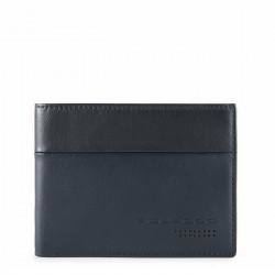 PIQUADRO UB00R Portafogli uomo con porta carte ribaltina e moneta in nappa BLU PE19