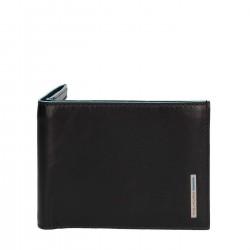 PIQUADRO BLUE SQUARE Portafogli uomo con porta carte porta documenti in pelle NERO