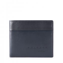 PIQUADRO UB00R Portafogli uomo medio con porta carte credito in nappa BLU PE19