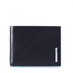 PIQUADRO BLUE SQUARE Portafoglio con porta carte e porta documenti in pelle BLU