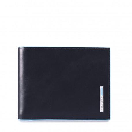 7d0ec1ff8a PIQUADRO BLUE SQUARE Portafoglio con porta carte e porta documenti in pelle  BLU