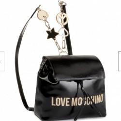 LOVE MOSCHINO Zaino donna con logo frontale METALLIC PU NERO Pre A/I 2019-2020