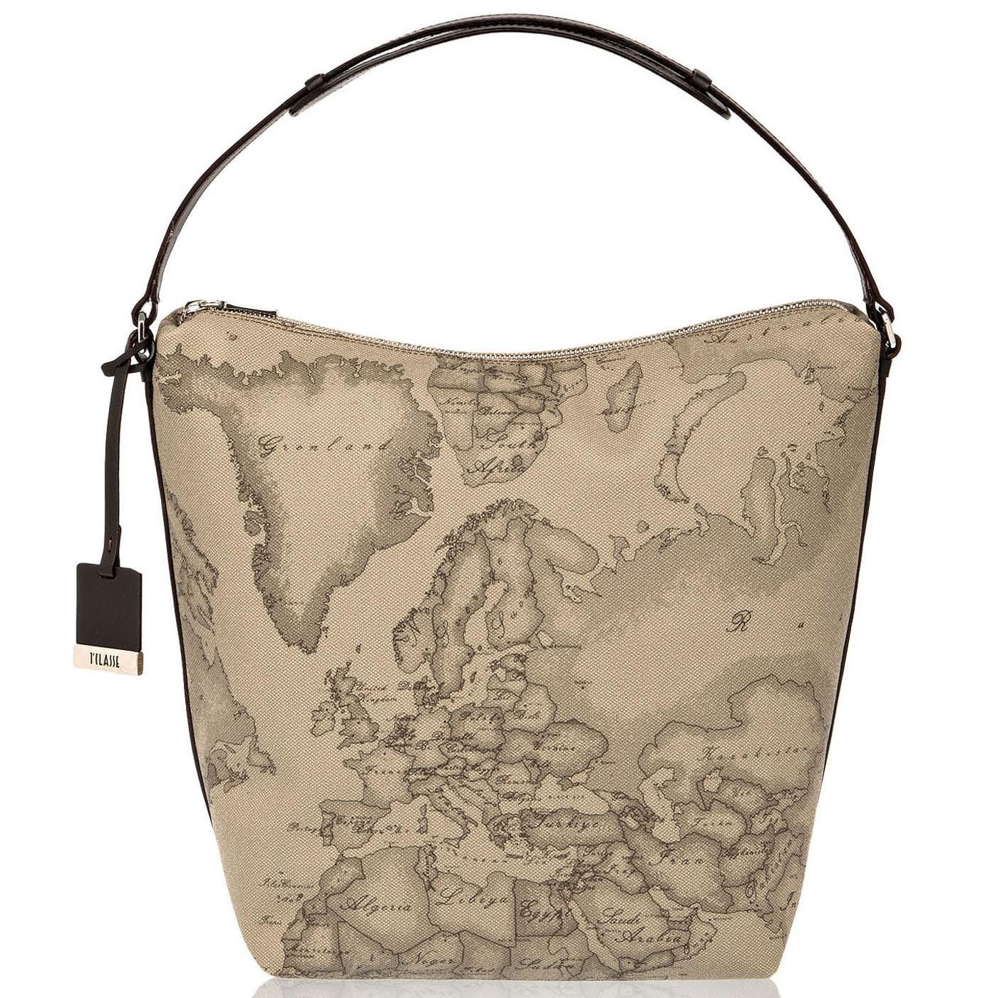 ALVIERO MARTINI Medium Shoulder bag in Geo print TAUPE