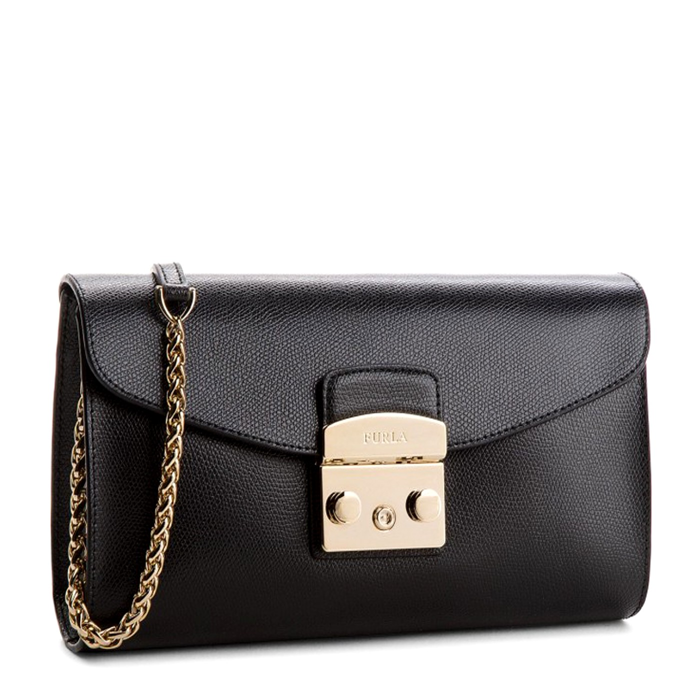 FURLA METROPOLIS Leather Shoulder bag with chain ONYX 8034022061284 ... a0ed2d8bdd