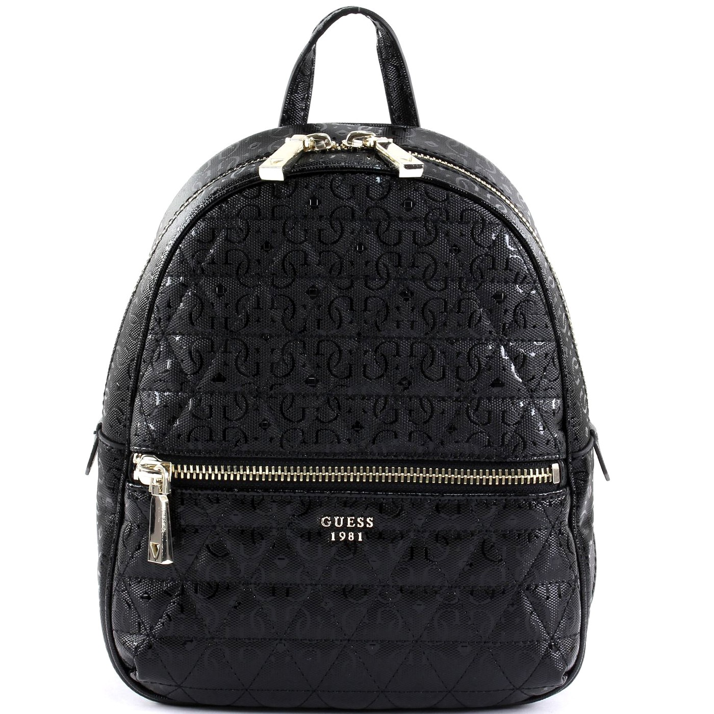 e7ecd706b9c Details about GUESS TABBI Faux Leather backpack logoed glossy BLACK S S 2019
