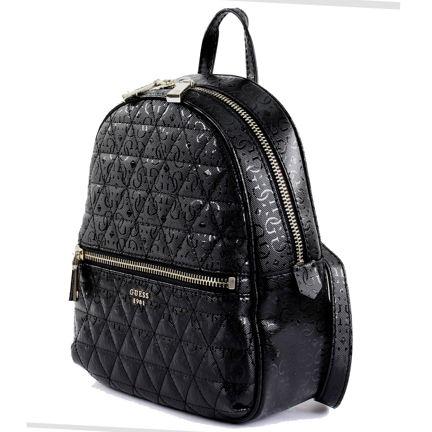 4242a0d174a GUESS TABBI Faux Leather backpack logoed glossy BLACK S S 2019 ...